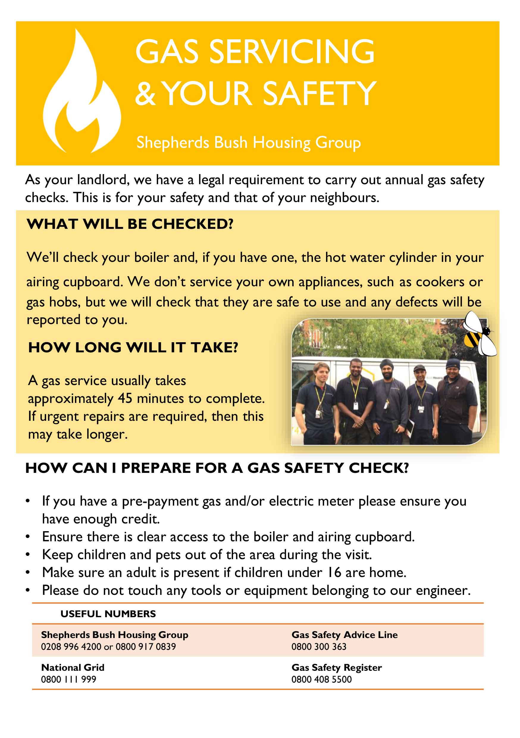 Gas safety leaflet cover