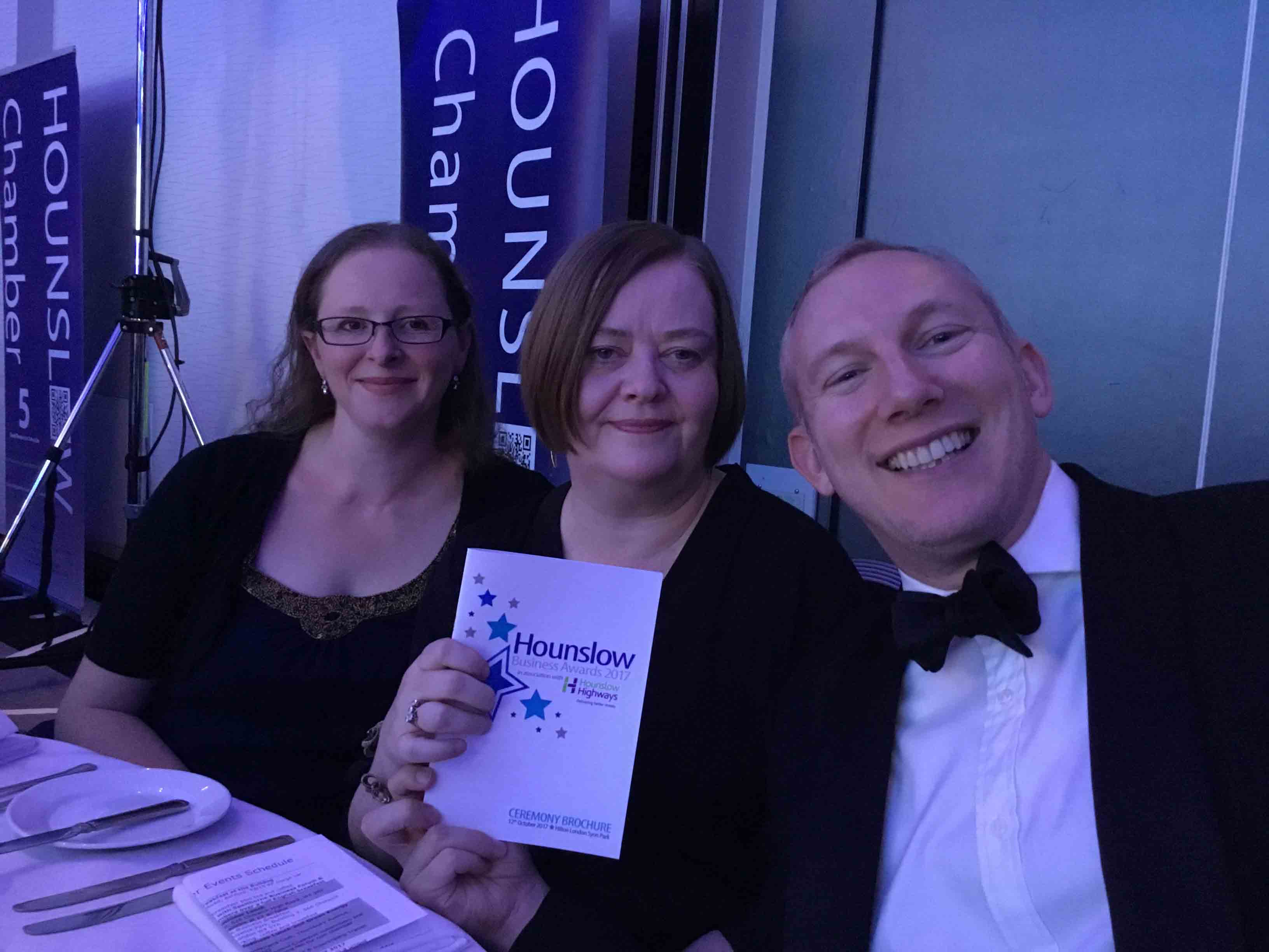 Matt Campion, Pam Sedgwick and Alice Careless at Hounslow Business Awards