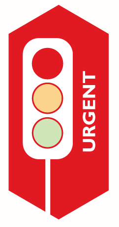 red traffic light indicates urgent information. response is needed immediately